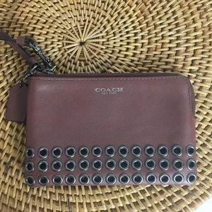 Coach Dark Purple Burgundy wristlet studded wallet